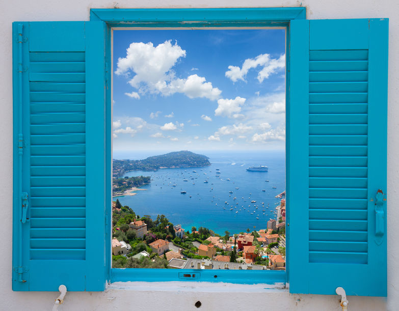 45060912 – provence window with view of  cote dazur, france